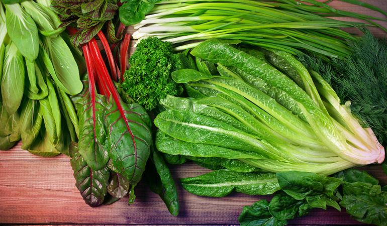 Half a cup of boiled kale has around 531 mcg of vitamin K.