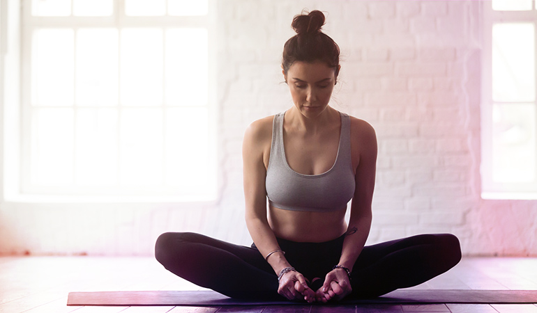 The butterfly pose relieves bloating caused by constipation.