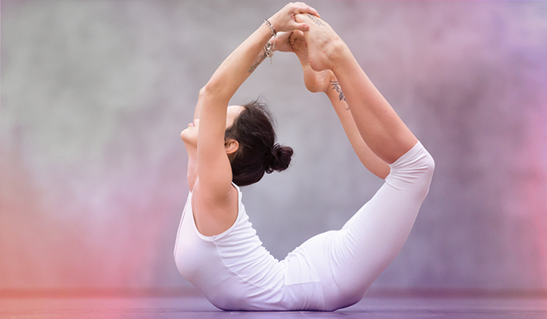 The bow pose helps relieve constipation.