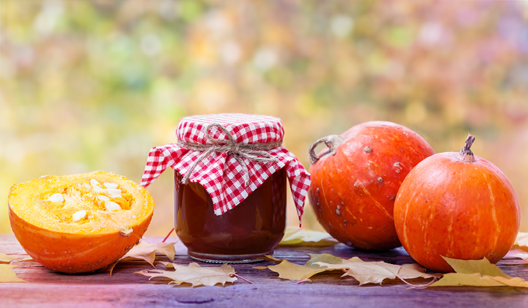 Half a cup of canned pumpkin has 20 mcg.
