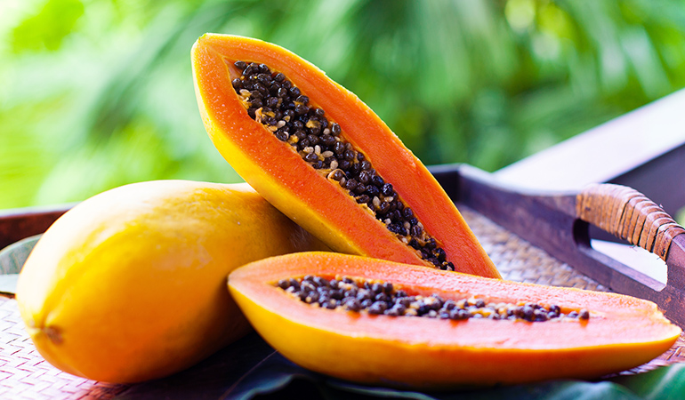 A cup of the mashed papaya: 46 mg of calcium (3.5% DV)