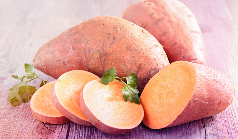 A cup of baked sweet potato: 1.42 mg of vitamin E (9.5% DV)