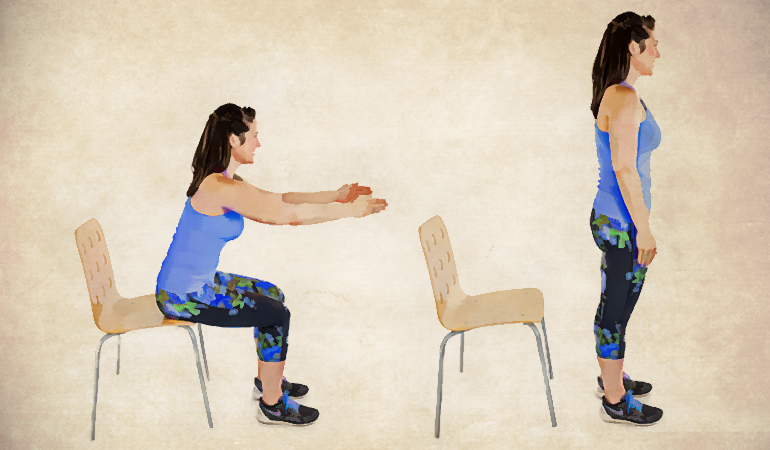 Chair squats are easy on the knees.