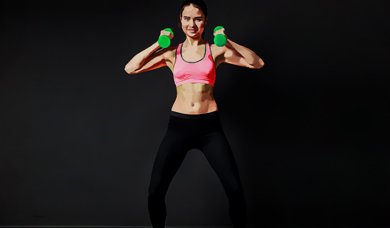 Front squats with dumbells engage your core,hip, and leg muscles.