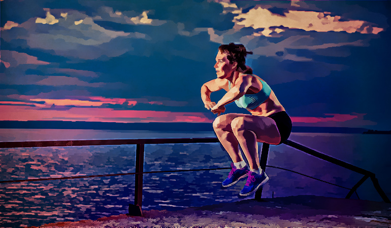 Jump squats engage hip and leg muscles.