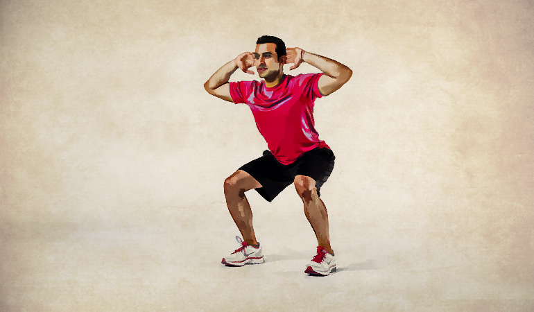 Prisoner squats engage your core muscles.