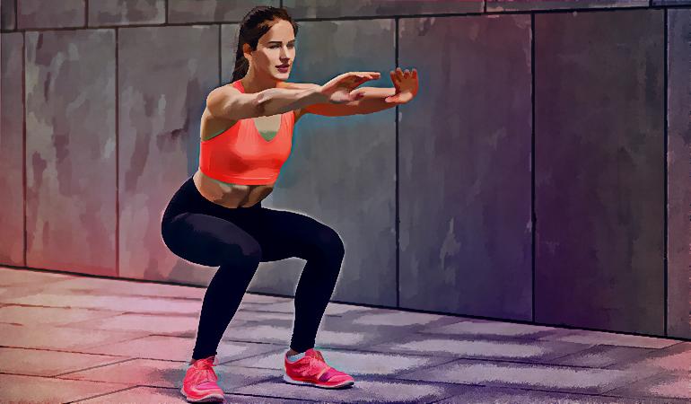 Regular body-weight squats strengthen thigh and hip muscles.