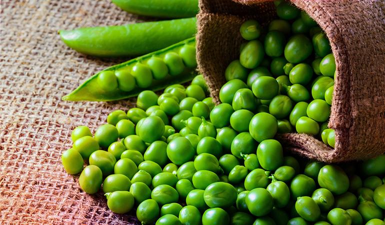 A cup of boiled fresh green peas has 3.23 mg vitamin B3 (20.2% DV).