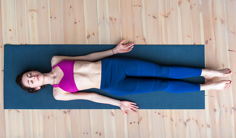 Corpse pose relieves tension and anxiety.