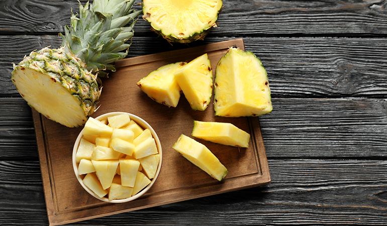 A cup of pineapple chunks has 1.53 mg of manganese (66.5% DV).