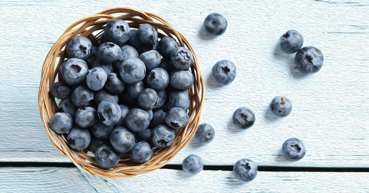 Vitamins in blueberries include K, C, E, B, and A.